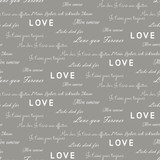 Love letters seamless vector gray pattern. Romantic valentine wrap paper white text design.