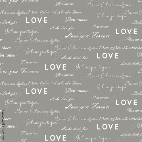 Love letters seamless vector gray pattern. Romantic valentine wrap ...
