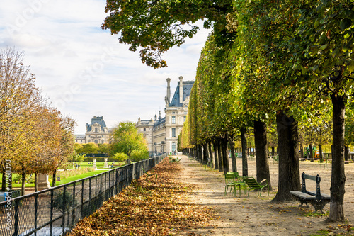 The Flore pavilion of the Louvre palace seen from the Tuileries garden in Paris, by a sunny autumn afternoon, with an alignment of linden trees, metallic chairs and dead leaves on the ground Poster