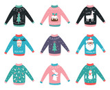 Ugly Knitted Sweaters. Vector Set for Party Invitations