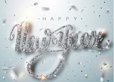 Fototapety Happy New Year lettering greeting card for holiday. Silver confetti falls. Calligraphy lettering New Year. Silver Design of greeting card of Falling Shiny Confetti. Vector Illustration 10 EPS