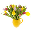 Mixed bouquet tulips in vase