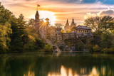 Belvedere Castle at sunset. Belvedere Castle is a folly built in the late 19th century in Central Park, Manhattan, New York City - 179622569