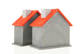 Wooden gray hous iwith red roof - 179623164