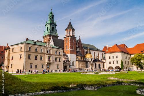 KRAKOW, POLAND - SEPTEMBER 3, 2016: Tourists visit Wawel castle in Krakow, Poland
