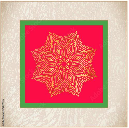 Foto op Canvas Baksteen Golden vector star. Vintage Christmas star