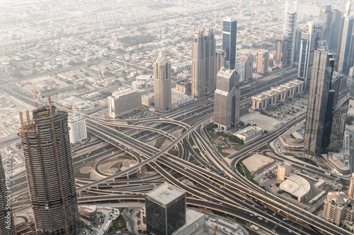 Fotobehang Dubai Aerial view of a highway intersection in Dubai, United Arab Emirates