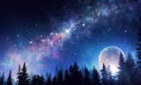 Starry sky and moon. Mixed media - 179636769