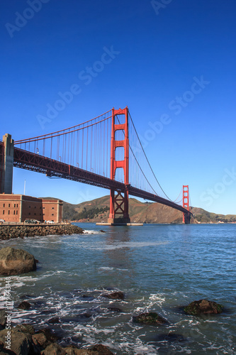 Golden Gate bridge from the San Francisco side Poster