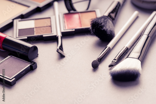 Set of Makeup cosmetics products with bag on top view, vintage style Poster