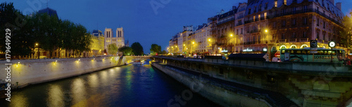 Panoramic view of Notre Dame at Dusk, River Seine, Paris, France - 179649929
