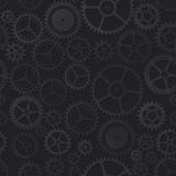 Black clockwork seamless pattern