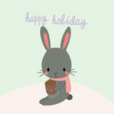 Happy holiday with cute rabbit.