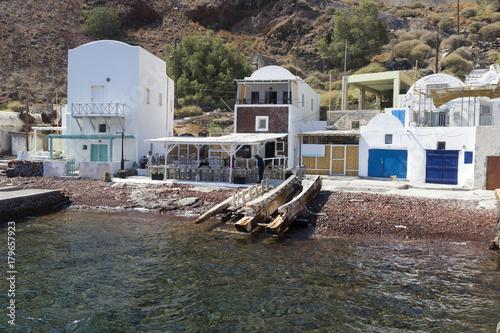 Fotobehang Santorini Oia harbour in Santorini island greece