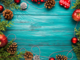 Christmas dark green frame background with pine cones, red baubles and twine, apples. Wooden table texture