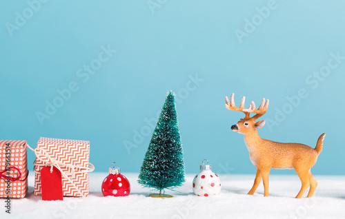 Sticker Christmas holiday theme with reindeer and Christmas trees