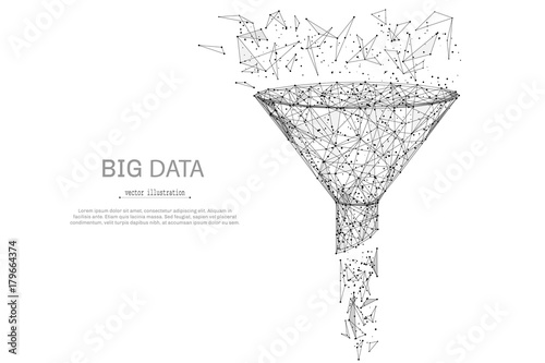 Funnel low poly wireframe isolated black on white background. Abstract mash line and point origami. Vector illustration. Big datta or sales funnel concept with geometry triangle.