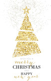 Fototapety Elegant Christmas Tree, Glitter, Gold
