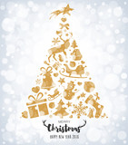 Christmas tree with golden decorations on bokeh
