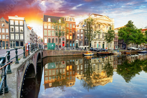 Beautiful Amsterdam Sunset Typical Old Dutch Houses On The Bridge
