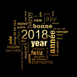 2018 new year multilingual golden text word cloud square greeting card on black background - 179673394