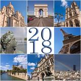 2018 paris travel collage greeting card - 179673592