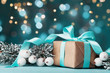 Magic christmas background with gift box and snowy fir tree. Greeting card with bokeh effect.