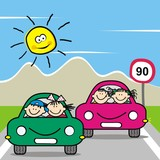 Kids at cars, at background traffic sign, mountain and sun. Funny vector illustration.