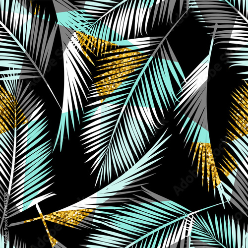Seamless exotic pattern with palm leaf silhouettes. Gold glitter texture. - 179675738