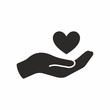 Heart in hand icon