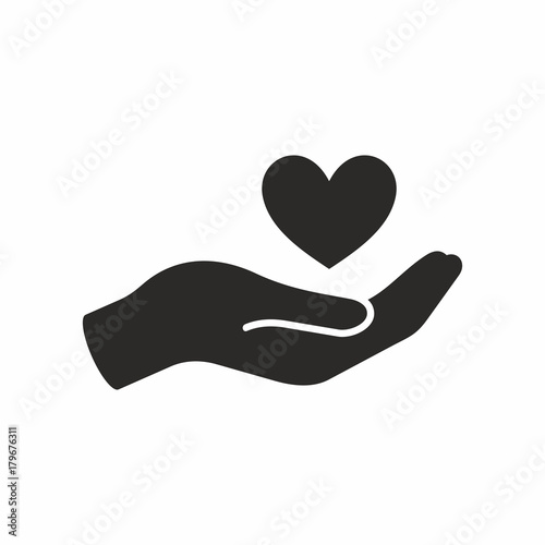 Heart in hand icon - 179676311