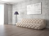 Mock up a modern living room with a beige fashionable sofa and a stylish floor lamp.