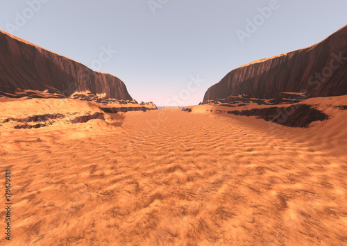 Deurstickers Oranje eclat 3D Rendering Canyon Valley