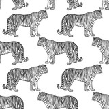 Seamless pattern with tiger.