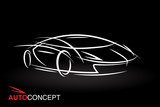 Abstract auto concept vehicle design with model style sketch outline of a white futuristic sports car on black background. Vector illustration.