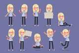 Female character in casual clothes in different poses: Vector illustration.
