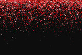 Red glitter on black background, falling particles. Vector - 179684301