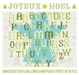 Christmas hand drawn vector alphabet with decorative elements