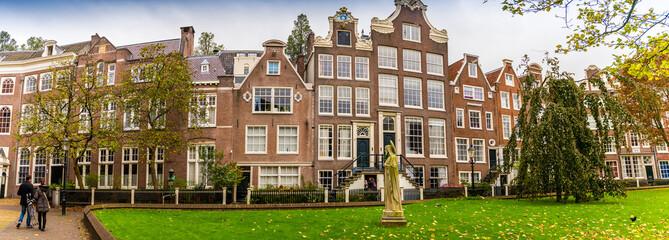 Panoramique de Façades à Amsterdam, Hollande aux Pays-Bas