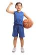 Little basketball player gesturing success
