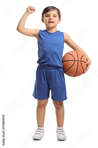 Fotobehang Basketbal Little basketball player gesturing success
