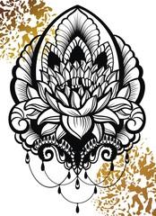 Vector ornamental Lotus flower, ethnic art.Tattoo, astrology, alchemy, boho and magic symbol.