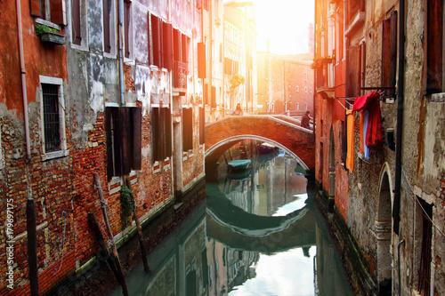 Foto op Plexiglas Venetie Beautiful narrow canal in Venice, Italy
