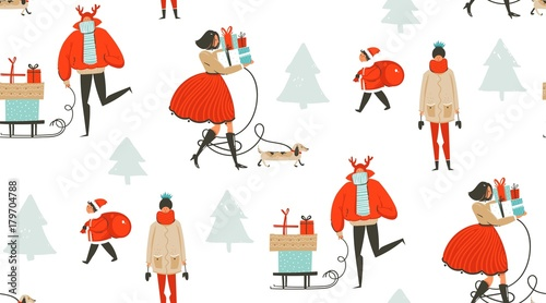 Cotton fabric Hand drawn vector abstract fun Merry Christmas time cartoon illustration seamless pattern with people walking in winter clothing and surprise gift boxes isolated on white background