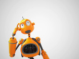 Yellow Cartoon Robot Thinking About Something Wall Sticker
