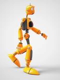 Yellow Cartoon Robot Walking Wall Sticker