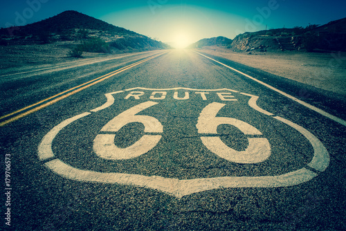 Foto op Canvas Route 66 Route 66 vintage colour effect into the sun