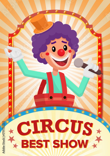 Fotobehang Vintage Poster Circus Clown Show Poster Blank Vector. Vintage Magic Show. Fantastic Clown Performance. Holidays And Events. Illustration