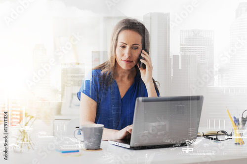Sticker woman calling on smartphone at office