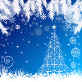 Christmas Tree with Blue Snowy Background